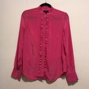 J.Crew Pink Silk Ruffle Blouse